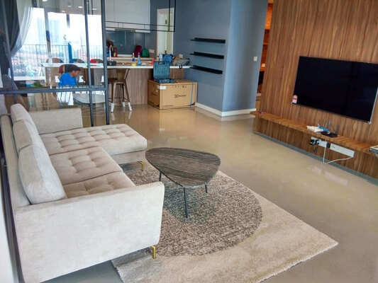epoxy flake living room
